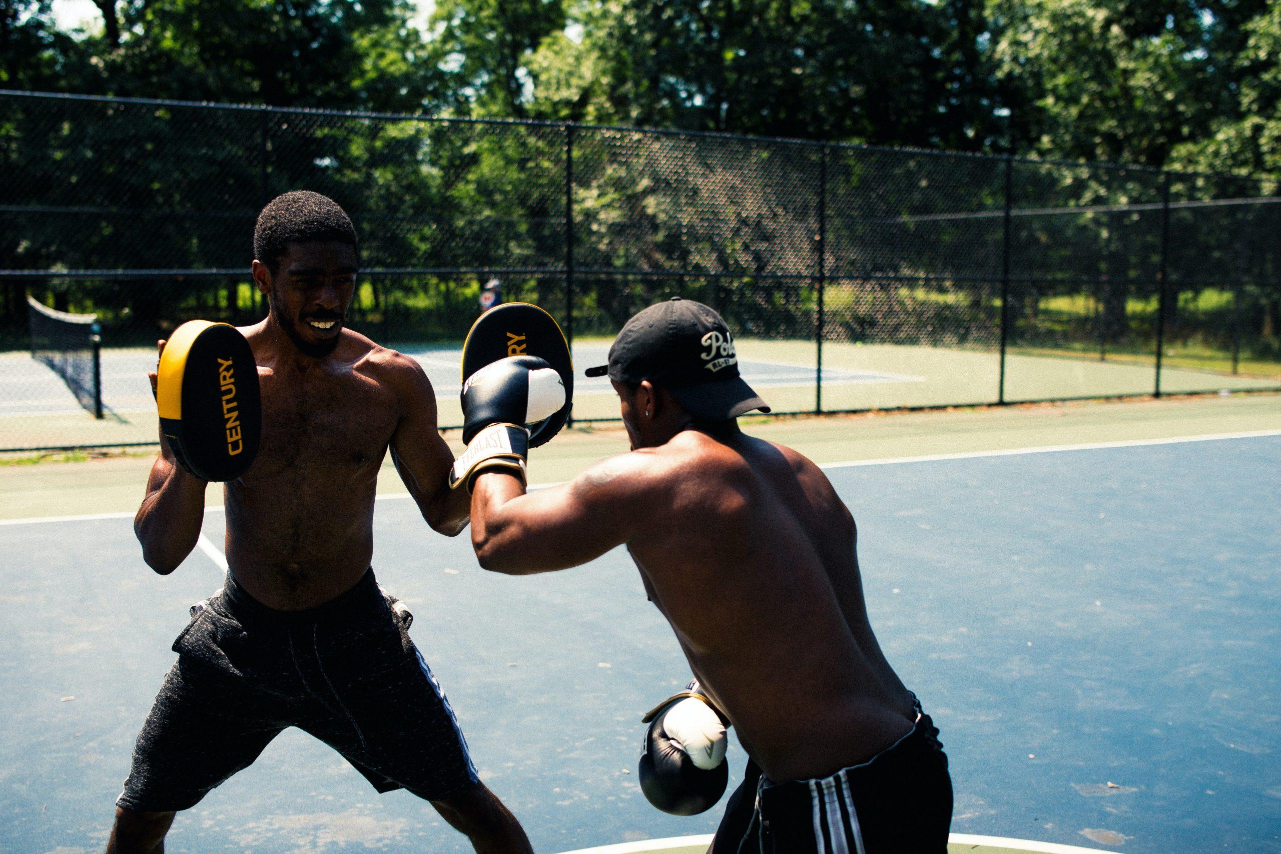 amigos entrenando box