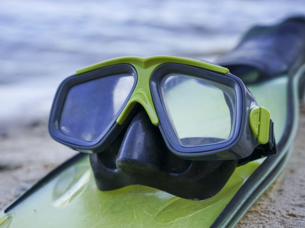flippers and mask lie on the shore