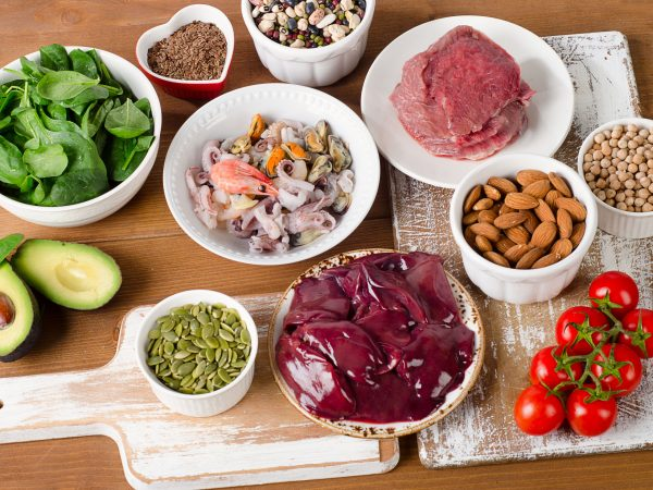 Foods with Zinc mineral on wooden table. Top view