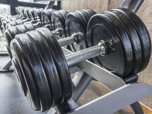 Raw of dumbbells  in fitness room in the morning