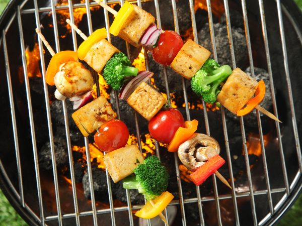 Three grilled tofu or bean curd kebabs with colorful diced vegetables on skewers cooking over a portable barbecue, overhead view