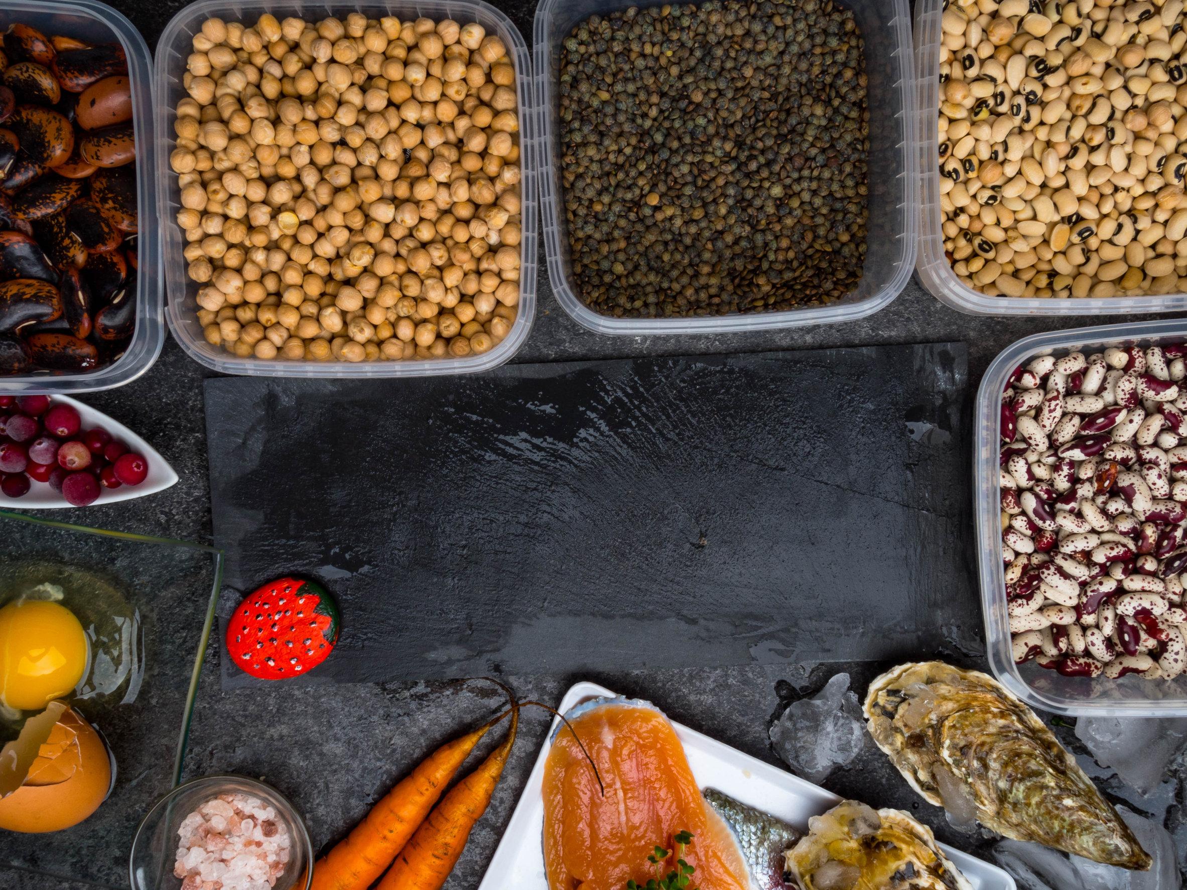 Micronutrientes en granos, frutas y carnes