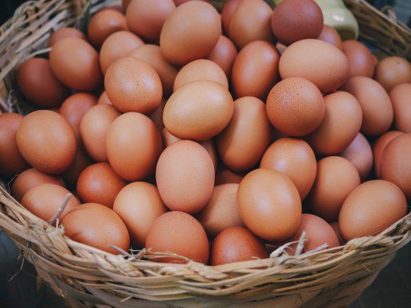 Eggs in basket fresh eggs farm product