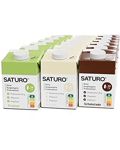 SATURO® Paquete Mixto de Sustitutos de Comida   Batido alto en proteínas con 500 kcal   Vegano   Comida bebible con 26 nutrientes   18 x 500 ml