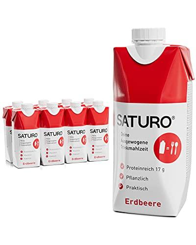 Saturo Fresa - Batido Sustituto Alimenticio   Comida Saciante, Sana y Vegana   Perfecto para Nutrición en el Deporte - Control de calorías   Pack de 8 x 330ml