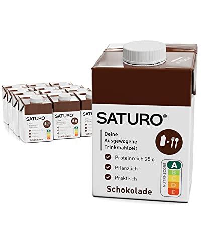 SATURO® Batido de Chocolate Sustituto de Comida   Comida para astronautas con proteínas y 500kcal   Vegano   Comida bebible con nutrientes esenciales   12 x 500 ml