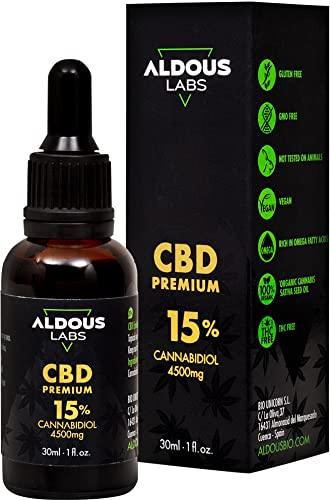 Auténtico CBD Oil 15%   Aceite de Cáñamo Bio enriquecido con 15% CBD   30ml - 1200 gotas Aceite CBD Premium   Hemp Oil con 4500mg de Cannabidiol   0% THC