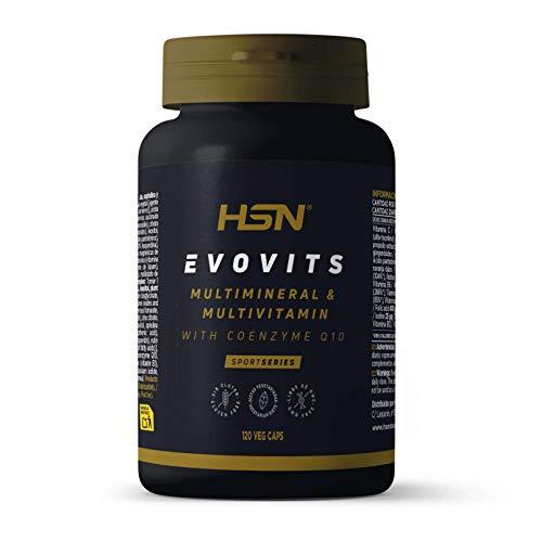 Evovits de HSN   Multivitaminas y Minerales   Complejo Multivitamínico para Mujer + Hombre + Vegetarianos y Deportistas   Vegetariano, Sin Gluten, Sin Lactosa, 120 Cápsulas Vegetales