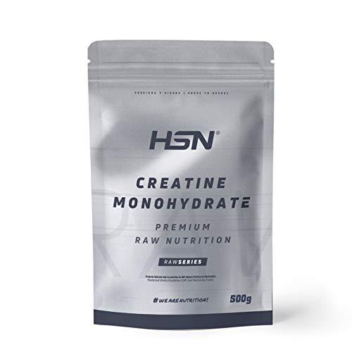 Creatina Monohidrato Micronizada en Polvo de HSN | Aumenta tu Rendimiento Deportivo, tu Energía y tu Masa Muscular, Retrasa la fatiga | Vegano, Sin Gluten, Sin Lactosa, 500 gr