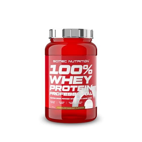Scitec Nutrition 100% Whey Protein Professional con aminoácidos clave y enzimas digestivas adicionales, sin gluten, 920 g, Chocolate-Avellana