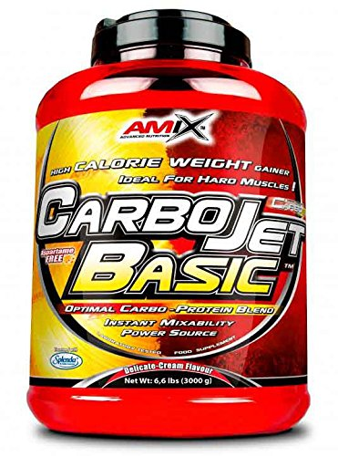 AMIX - Complemento Alimenticio - Carbojet Basic - Carbohidratos y Proteínas para Aumentar la Masa Muscular - Con Concentrado de Proteína de Suero -Recuperador Muscular - Sabor Fresa - 3 KG