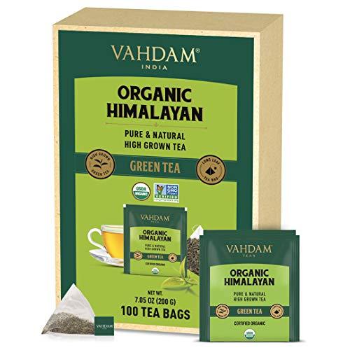 VAHDAM, Hojas de Té Verde Orgánico del Himalaya (100 Bolsitas de Té), Infusión Para Perder Peso, 100% Natural, RICO EN ANTIOXIDANTES. Té Detox para Tomar Caliente o Frío