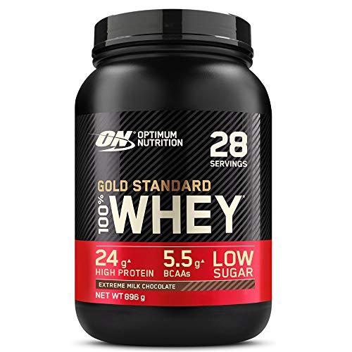Optimum Nutrition Gold Standard 100% Whey Proteína en Polvo, Glutamina y Aminoácidos Naturales, BCAA, Extremo Chocolate, Leche, 28 Porciones, 896 g, Embalaje Puede Variar